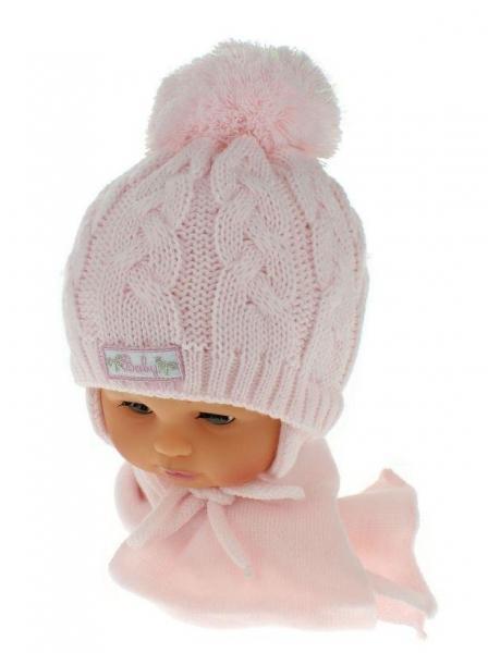 ca574e8a819 Zimní pletená čepička s šálou Baby Bear - růžová s bambulkou