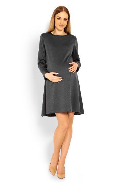 32d91893b05 Elegantní volné těhotenské šaty dl. rukáv - grafit