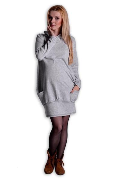 89d063c1f0c Sportovní těhotenské šaty s kapucí - šedý melírek