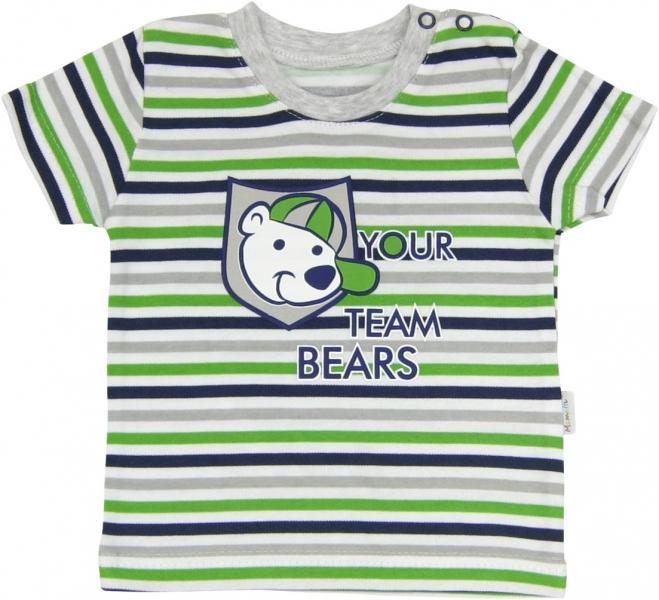 Bavlněné tričko Medvídek proužek - krátký rukáv - proužky 10ec366a3f