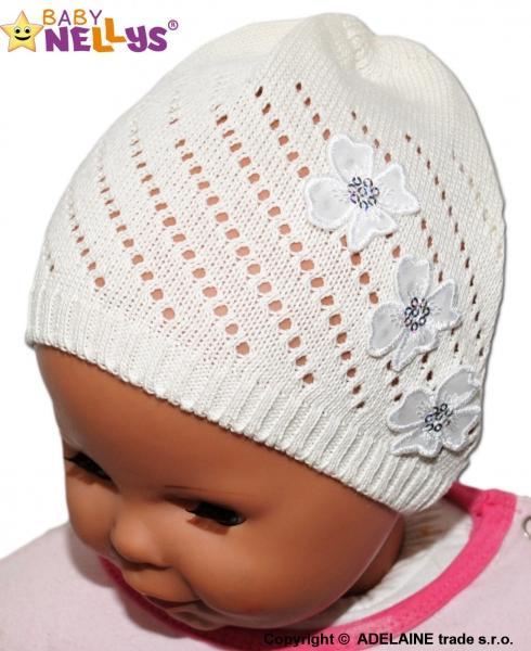 Háčkovaná čepička Kytičky Baby Nellys ® - smetanová b16418fba2