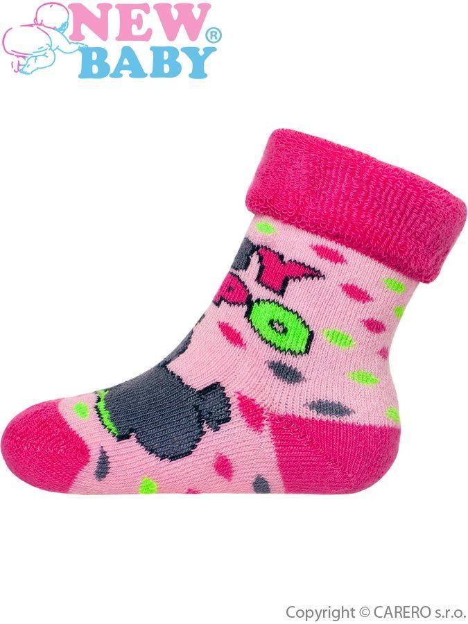 Dětské froté ponožky New Baby růžové s hrochem Růžová 74 (6-9m) 28a9a0f17f