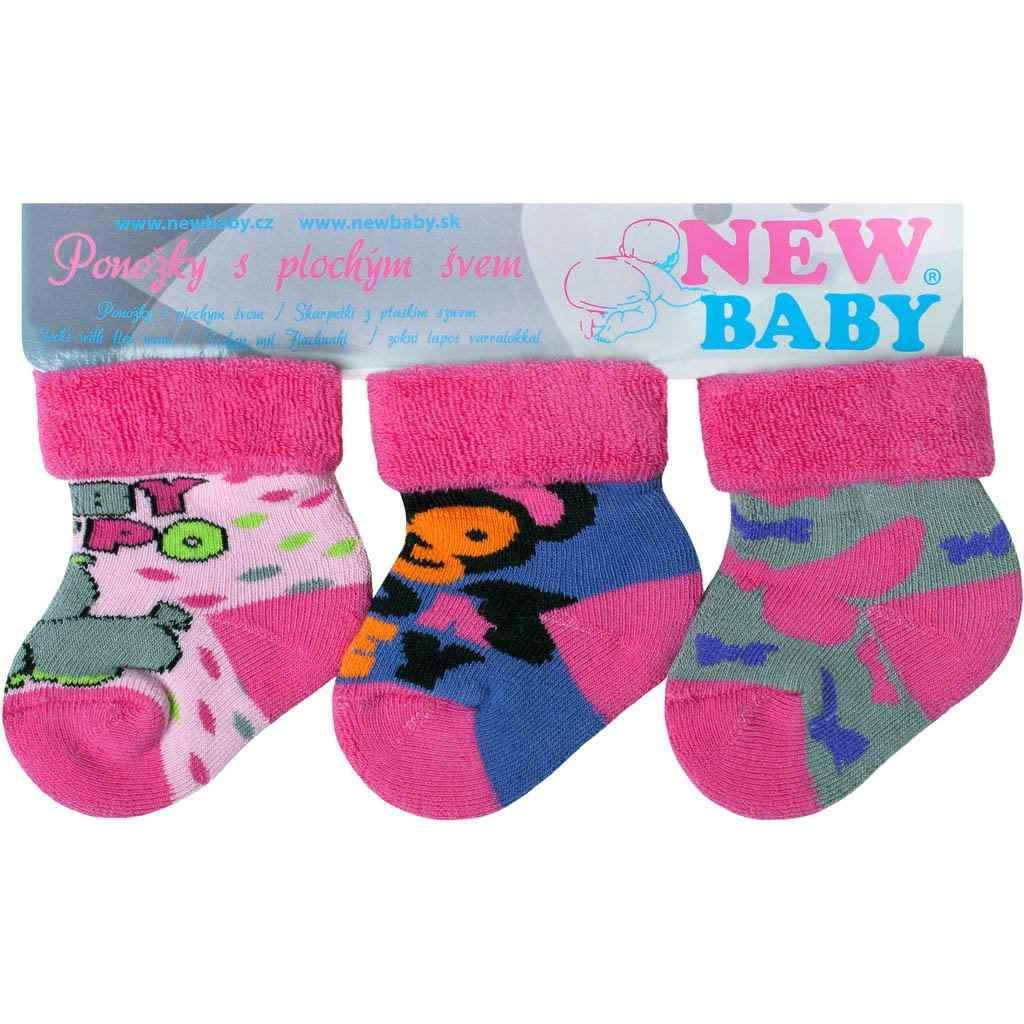 Kojenecké froté ponožky New Baby barevné - 3ks Dle obrázku 56 (0-3m) 8be22fd975