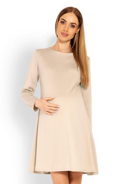 Elegantní volné těhotenské šaty dl. rukáv - béžové 8f91f66766