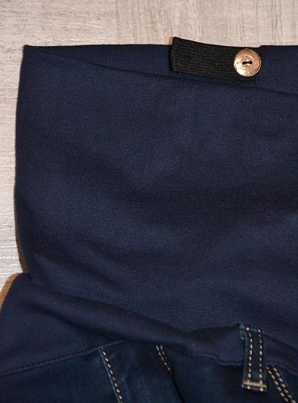 Těhotenské kalhoty JEANS s pružným pásem Livia - Modré 9ead6989e6