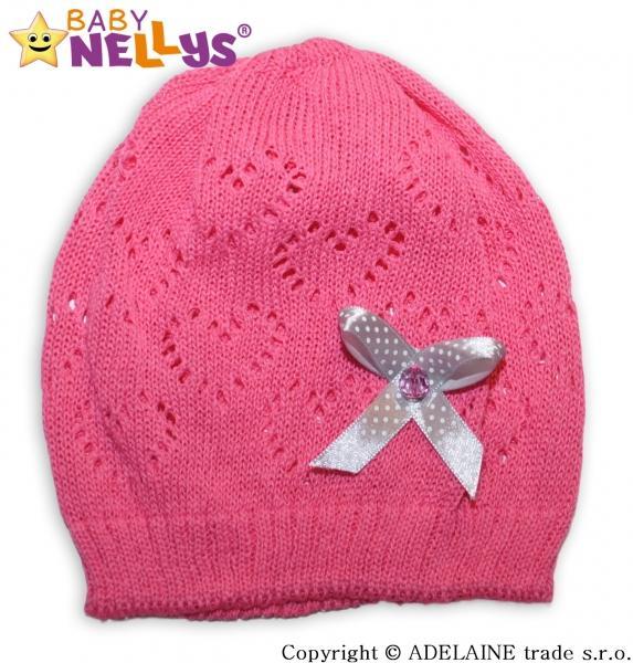 Háčkovaná čepička Mašlička Baby Nellys ® - tm. růžová 0ed20e7438