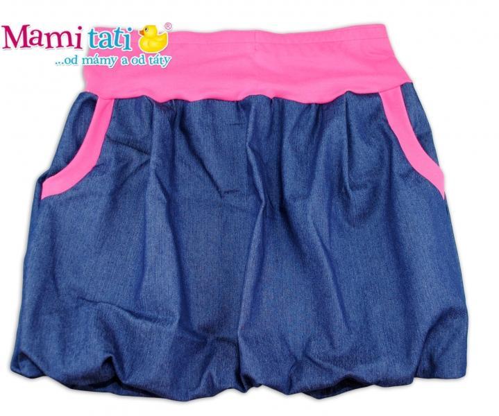 7cc89a2751c3 Balónová sukně NELLY - jeans denim granát  růžové lemy